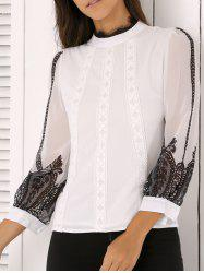 Ladylike Lace Splicing Chiffon Blouse