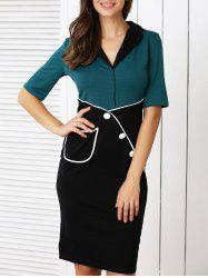 Retro Color Block Buttoned Dress For Women