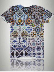 Tile Print V-Neck Short Sleeve T-Shirt For Men