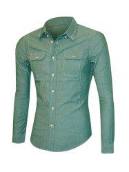 Solid Color Pockets Front Long Sleeve Button-Down Shirt For Men -