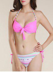 Fashionable Bowknot Printed Bikini Suit For Women