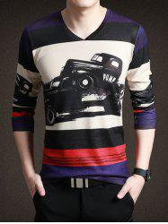 Classic Gran Torino Print Striped Long Sleeve Tee For Men