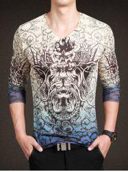 Fashionable Totem Print V-Neck Long Sleeve Tee For Men
