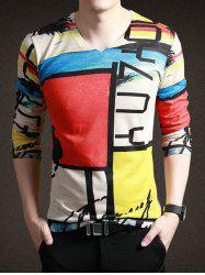 Chic Color Blocks Letter Print V-Neck Long Sleeve Tee For Men