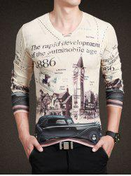 Vintage City Print V-Neck Long Sleeve Tee For Men
