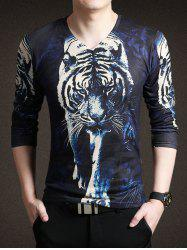 New Look 3D Tiger Print V-Neck Long Sleeve Tee For Men -