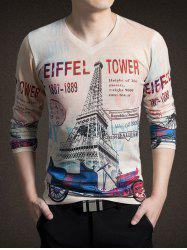 3D Tower Print V-Neck Long Sleeve T-Shirt For Men