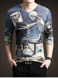 3D Skeleton Print V-Neck Long Sleeve T-Shirt For Men