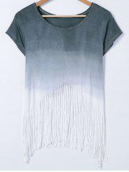 Short Sleeve Gradient Color Fringed T-Shirt -