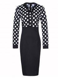 V Neck Polka Dot Skinny Dress
