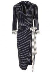 V Neck Striped Wrap Dress - Rayure