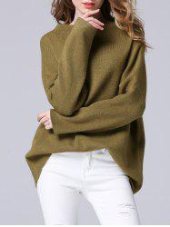 Elegant Dolman SLeeve Pure Color Loose-Fitted Chunky Sweater - FLAX GREEN ONE SIZE