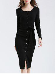 Belted Button Up Bodycon Long Sleeve Midi Jumper Dress - BLACK