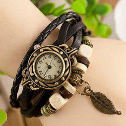 Leaf Pendant Embellished Multi-Layered Bracelet Watch