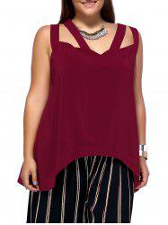 Alluring Plus Size Cut Out Criss Cross Asymmetrical Women's Blouse