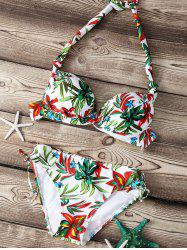 Refreshing Floral Print Push Up Women's Bikini Set -