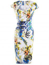 Fashionable Floral Print Skinny Slimming Women's Dress - COLORMIX