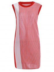 Trendy Round Neck Striped Contrast Color Women's Dress -