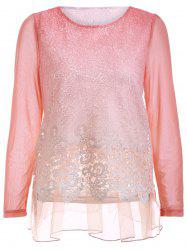 Chic Lace Spliced Hollow Out Loose-Fitting Women's Blouse -