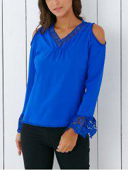Trendy V Neck Lace Spliced Hollow Out Crochet Blouse -