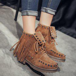 Punk Rivet and Fringe Design Short Boots For Women - BROWN