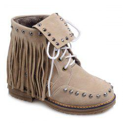 Punk Rivet and Fringe Design Short Boots For Women