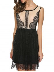 Lace Insert Back Slit Mini Dress - BLACK