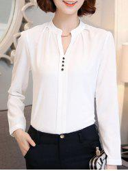 Trendy Long Sleeve Buttoned White Chiffon Shirt -