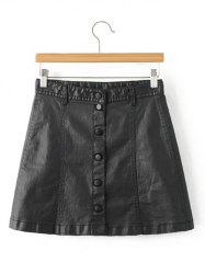 Stylish Black Faux Lether Front Button Up Short Skirt -