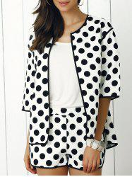 Fashionable Polka Dot Coat and Mini Shorts Twinset
