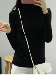 High Neck Pure Color Long Sleeve Sweater -