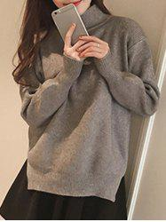 Split High Neck Candy Color Long Sleeve Sweater -