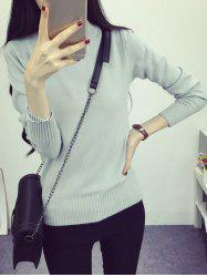 High Neck Long Sleeve Candy Color Sweater -