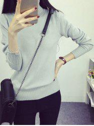 High Neck Sweet Solid Color Sweater -