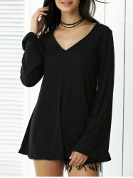 V-Neck Pure Color Long Sleeve Tee - BLACK XL