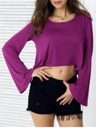 Casual Flare Sleeves Loose-Fit Crop Top