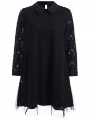Chic Flat Collar Voile Splicing Hollow Out Women's Dress -
