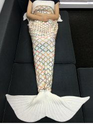 Fashion Yarn Knitted Colorful Rhombus Design Warmth Mermaid Tail Blanket -