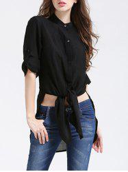 Stylish Long Sleeve Pure Color Thin Side Slit Tie Shirt -