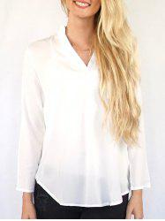 Casual V-Neck Solid Color 3/4 Sleeve Blouse For Women -