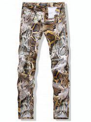 Snake-Skin Print Casual Pants - COLORMIX