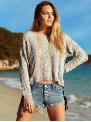 Long Sleeve Knitted Crochet See Through   Cover-Up -
