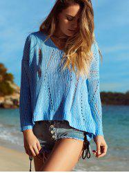 Alluring V Neck Hollow Out Crochet Cover-Up