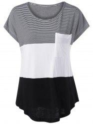 Color Block Asymmetrical T-Shirt - WHITE AND BLACK