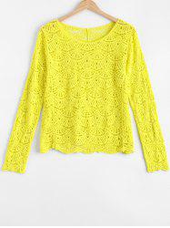 Chic Fanshaped Lace Crochet Trim See-Through Spliced Blouse -