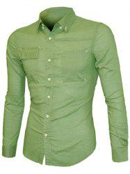 Pockets Front Solid Color Long Sleeve Button-Down Shirt For Men