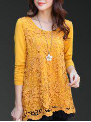 Charming Scoop Neck Lace Spliced Hollow Out Women's Blouse