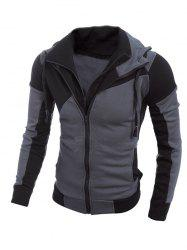 Color Spliced Long Sleeve Double Zipper Hoodie For Men - BLACK