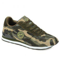 Trendy Tie Up and Camouflage Pattern Design Athletic Shoes For Men - ARMY GREEN CAMOUFLAGE