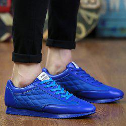Fashionable Checked and Solid Color Design Athletic Shoes For Men